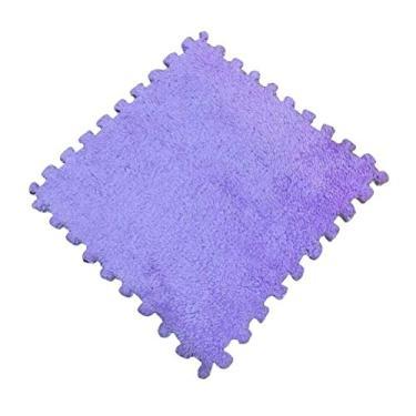 TOYANDONA Tapetes de espuma de pelúcia para brincar de bebês, tapete quadrado de espuma de EVA, tapete para quarto com azulejos interligados (roxo)
