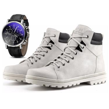 Bota Coturno Com Relógio Juilli Adventure Social 02 Branco-Gelo. 1100 Marrom Rel masculino
