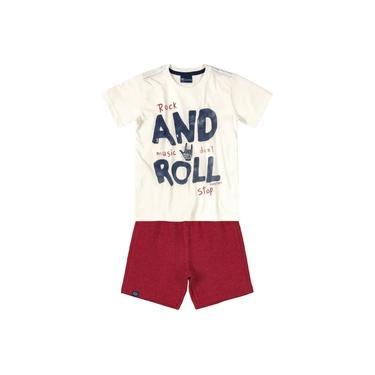Conjunto Infantil Camiseta e Bermuda em Moletinho Creme Quimby