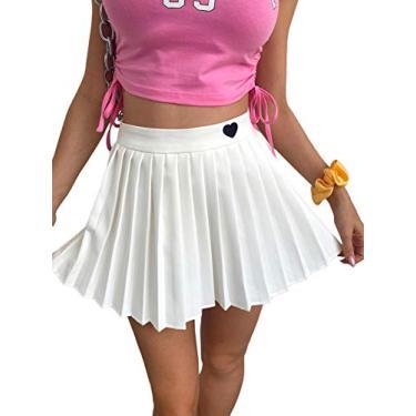 Mini saia plissada feminina Verdusa de cintura alta bordado coração evasê, Branco, Small