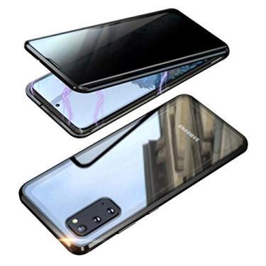EUDTH Capa para Galaxy A71, capa anti-espião, moldura de metal com absorção magnética + capa de vidro temperado capa protetora de corpo inteiro para Samsung Galaxy A71 de 6,5 polegadas (preta)
