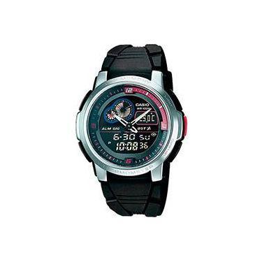 8f23ae162b0 Relógio Masculino Analógico e Digital de Resina c  Medição de Temperatura  AQF-102W-