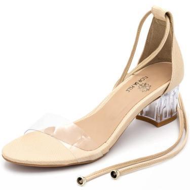 Sandália Salto Baixo Grosso com Transparência Amendoa  feminino