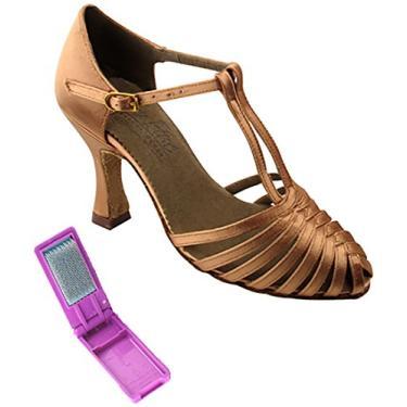 Sapatos de dança femininos muito finos de salsa, tango, latino, salsa, S9177, Cetim bronze, 7.5