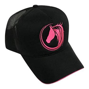Boné De Vaquejada Top Horse Trucker Preto com Bordado Pink