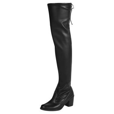 Bota Domidona Salto Over Knee Elastano Preta  feminino
