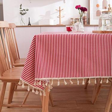 Imagem de Toalha de mesa retangular toalha de mesa de cozinha vermelha malha algodão e cânhamo foto fundo quadro piquenique festa - listras vermelhas, 140 x 160 cm