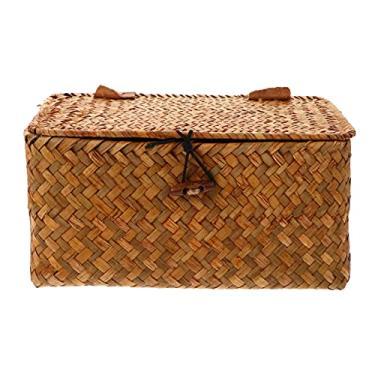 Imagem de IMIKEYA Seagrass Caixa de armazenamento de tecido, cesto de vime com tampa, caixa organizadora de vime, organizador de roupas de vime