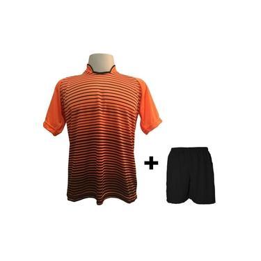 Uniforme Esportivo com 18 camisas modelo City Laranja/Preto + 18 calções modelo Madrid + 1 Goleiro +