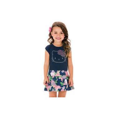 Vestido Infantil Azul Marinho com Saia Rodada Estampada com Babados Hello Kitty