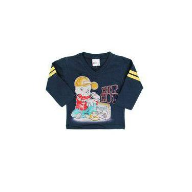 Camiseta Infantil Bebê Primeiros Passos Menino Skate Marinho Manga Longa Bebê Hip Hop - Kaiani