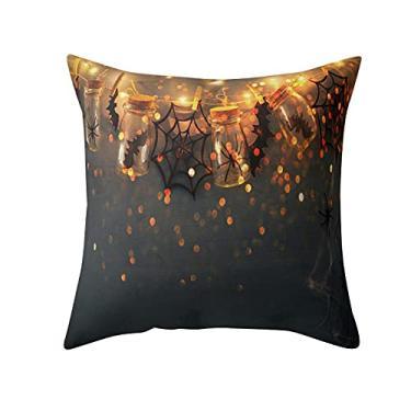 Imagem de SL&LFJ Capa de almofada com tema de Halloween Capa de almofada de algodão para decoração de casa e escritório para sofá, cama, decoração de carro, festa, festival, sala de estar, presente para a família (cor: D)