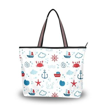 ColourLife Bolsa feminina com alça superior, design de tema marítimo, bolsa de ombro, Multicolorido., Large