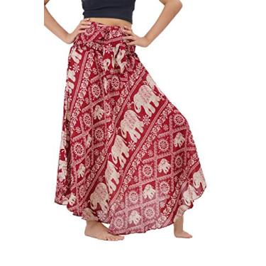 B BANGKOK PANTS Saia maxi Boho feminina estampa boêmia, Elephantparade vermelho, tamanho �nico
