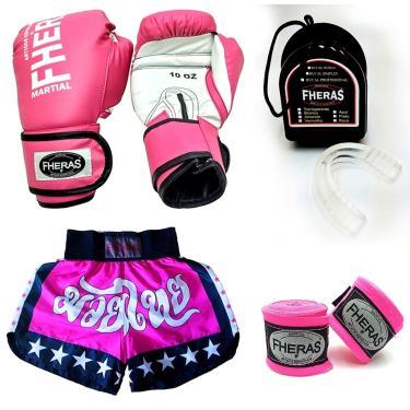 Kit Muay Thai Fheras Luva Bandagem Bucal Shorts 14oz Rosa