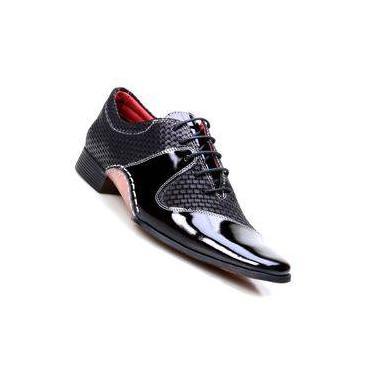 9f6f599a16 Sapato Social Masculino em Couro de Amarrar Calvest Preto 1930c392