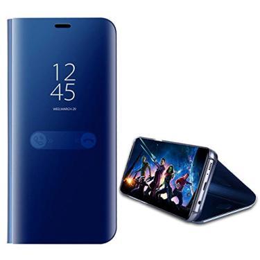 Capa de celular flip Hanbaili para Samsung Galaxy J3 Pro versão dos EUA 2017 capa inteligente e tela transparente com revestimento espelhado proteção total com design de suporte