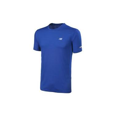 Camiseta de Manga Curta New Balance Refletivos Performance | Masculino Azul - GG
