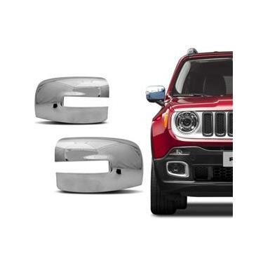 Aplique Retrovisor Cromado Jeep Renegade 2015 a 2019 Dupla Face
