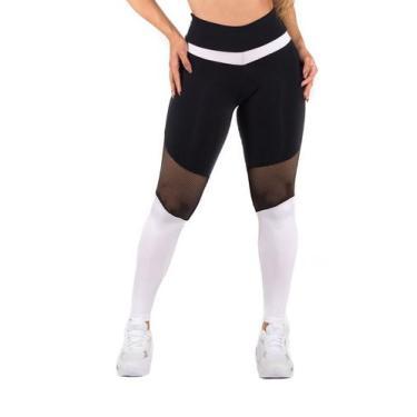 Imagem de Calça Legging Fitness Dily Preta Com Tela E Recorte Em Branco Brilhoso