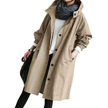 OTW Casaco de moletom feminino básico plus size corta-vento com capuz único transpassado agasalho trench coat longo, Caqui, XL