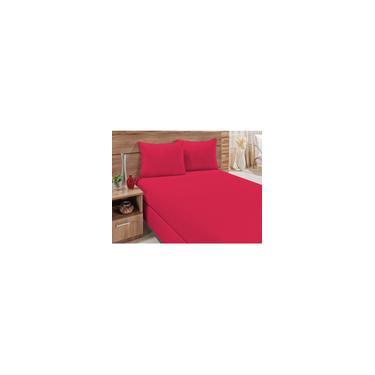 Imagem de Jogo De Cama Lençol Casal Padrão Box 3 Peças Em Malha 100% Algodão Liso Vermelho