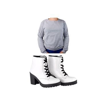 Kit Moletomm Casual Com Bota Ankle Boot Salto Médio Sapatofranca Moletomm Cinza E Bota Verniz Branca