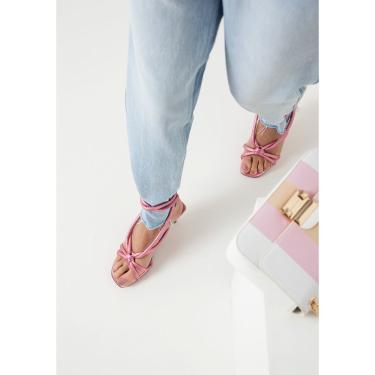 Sandália Salto Médio Lança Perfume Sandalia Rosa  feminino