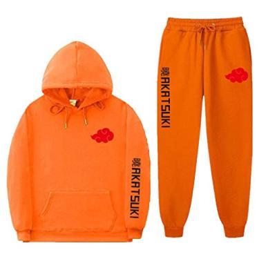 SAFTYBAY Moletom unissex Naruto com capuz e calça de moletom Akatsuki Suits Naruto Manga comprida moletom com capuz, Laranja, M