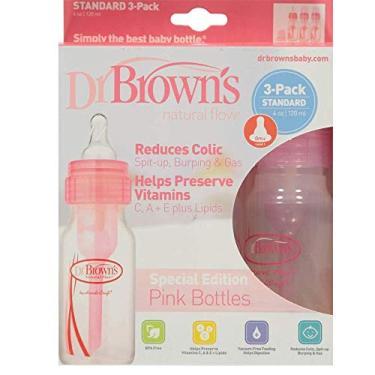 Imagem de Kit 3 Mamadeiras Clássica Rosa 120ml +0m Dr.Brown's