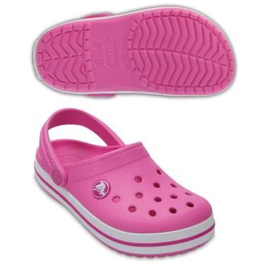 Crocs Crocband Clog Infantil Rosa/Branco - 204537-6U9