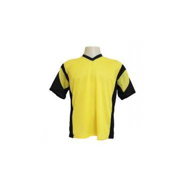 Jogo de Camisa Promocional com 18 Peças Numeradas Modelo Attack Amarelo  Preto - Frete Grátis Brasil - Kanga sport 01eb5820b4227