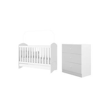 Jogo de Quarto Infantil Bebê Dormitório Completo 2 Peças Berço Mini Cama Bala de Menta 3 em 1 com Cômoda Infantil 3 Gavetas Branco - AM Decor