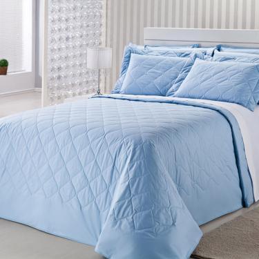 Imagem de Colcha Royal Comfort Matelasse Percal 233 Fios Queen Azul Plumasul