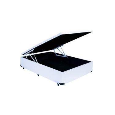 Cama Box Bau Solteirão 1,10 x 1,88 x 0,40 Inteiriço Premium Corino Branco Master Box Design