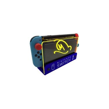 Suporte Bancada/Parede Nintendo Switch Iluminado - Mario Odyssey - Base Azul LED Amarelo
