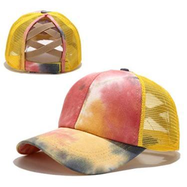 Beerty Boné de beisebol feminino, colorido tie-dye boné de beisebol rabo de cavalo cruzado nas costas, chapéu de sol com fecho traseiro, Amarelo, 56-60cm(22.05-23.62in)