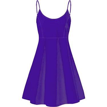 Vestido feminino PinUp Angel lindo, liso, evasê, sem mangas, rodado, de verão, Violeta, S