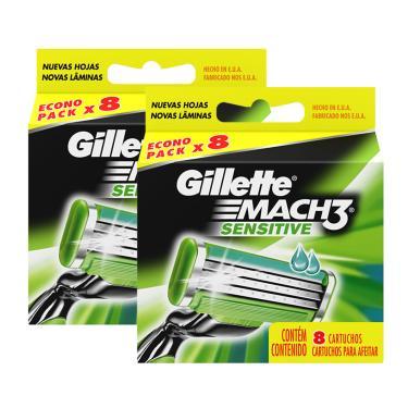 Imagem de Kit De Cargas Para Aparelho De Barbear Gillette Mach 3 Sensitive - 16 Unidades