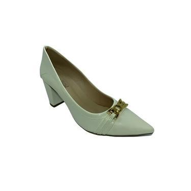Sapato Feminino Scarpin Salto Alto Gelo/Verniz Numeração Especial