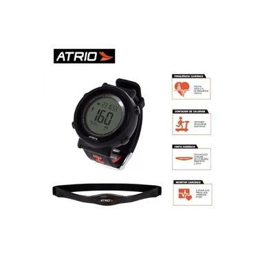 Monitor Cardíaco ES049 + Cinta Fortius com Contador de Calorias Cronômetro Alarme Preto Atrio