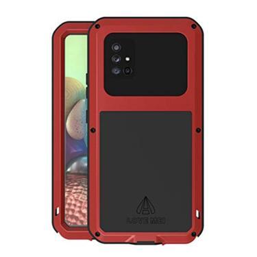 Hicaseer Capa para Galaxy A71 5G, à prova de choque, neve, poeira, metal de alumínio durável, Gorilla resistente, capa de proteção total para Samsung Galaxy A71 5G - Vermelho
