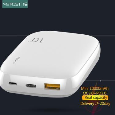 Ferising mini 18w power bank 10000mah bateria externa portátil rápido carregador usb tipo c qc 4.0