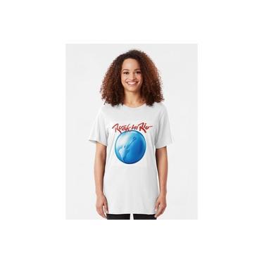 Camisa Camiseta feminina Rock in Rio festival baby-look 100% algodão