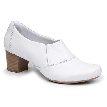 Sapato Branco Confortável Salto Grosso para Trabalhar Ref.: L2008-0002 (36)