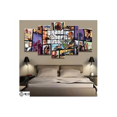 Quadros Decorativos 5 Peças Gta V Grand Theft Auto