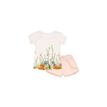Conjunto Charpey 2 peças Blusa Cotton e Shorts Sarja Off White