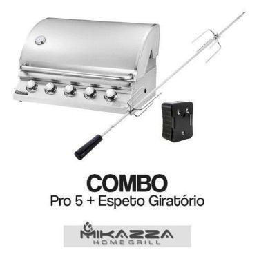 Imagem de Churrasqueira À Gás Embutir Mikazza Pro 5 + Espeto Giratório - Mikazza