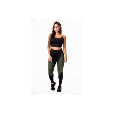 Imagem de Conjunto Fitness Feminino Calça Legging Preta com Verde Militar Cintura Alta e Cropped Alcinha Academia