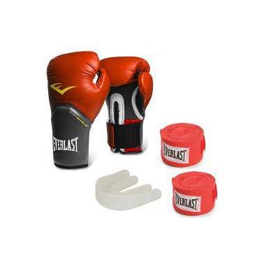 44a2f8e834 Kit Boxe Everlast Com Luva Pro Style 16 Oz Vermelha + Protetor Bucal + 2  Bandagens